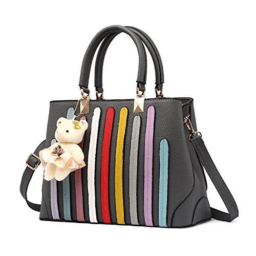BYD - Pell Donna Handbag Donna Borsa a Spalla Totes Borse a Mano striscia colorata Grigio
