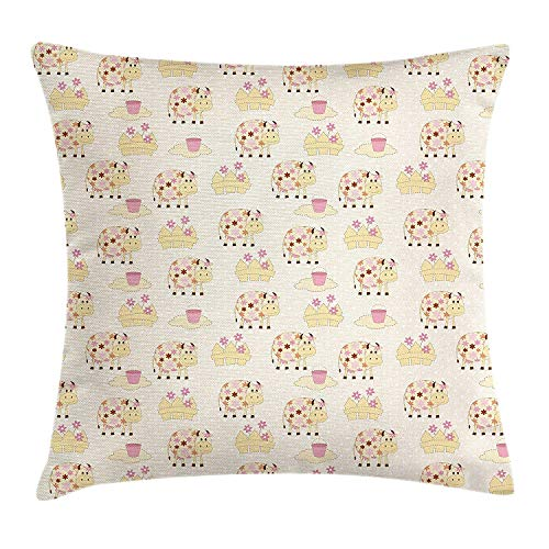 Pink Flowers Body Cream (Icndpshorts Kids Throw Pillow Cushion Cover, Cows with Flowers on Polka Dots Agriculture Farm Animal Country Life Inspired, Decorative Square Accent Pillow Case, 26 X 26 inches, Cream Pink Brown)