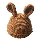 Paellaesp 3-36 Mes Bebé Niños Lindos Orejas de Conejo Sombrero de Lana Crochet Gorro de Invierno (Café)