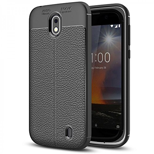 NALIA Custodia compatibile con Nokia 1, Cover Protezione Aspetto di Cuoio Ultra-Slim Case Protettiva Morbido Telefono Cellulare in Silicone Gel, Gomma Smartphone Bumper Copertura Sottile - Nero