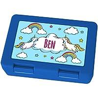 Preisvergleich für Brotdose mit Namen Ben - Motiv Einhorn, Lunchbox mit Namen, Frühstücksdose Kunststoff lebensmittelecht