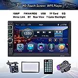 Reakosound Doble din reproductor MP5 autoradio audio Radio 1080p para coche Blutooth 7 pulgadas Pantalla tácti phone link control del volante