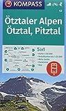 Ötztaler Alpen, Ötztal, Pitztal: 5in1 Wanderkarte 1:50000 mit Panorama, Aktiv Guide und Detailkarten inklusive Karte zur offline Verwendung in der ... Skitouren. (KOMPASS-Wanderkarten, Band 43)
