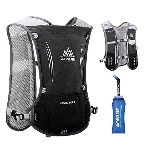 TRIWONDER Hydration Pack Rucksack 5L Marathoner Laufrennen Trinkweste (Schwarz - mit Weichen Wasserflaschen)