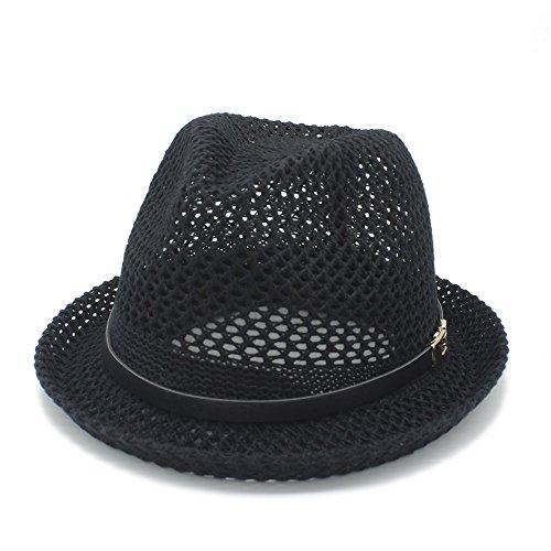 (LinLiQiao- Mode Frauen Männer Sonnenhut Für Gentleman Brief Boater Fedora Hüte Papa Mesh Flache Homburg Beach Hut Panama Cap (Farbe : Schwarz, größe : 56-58CM))