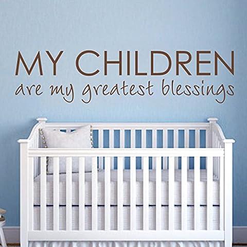 Nursery qutoes-my los niños son mis mayores bendiciones–familia amor cita la habitación del bebé decoración hogar decoración pegatina habitación de los niños dormitorio cabecero de Gráfico de pared personalizados (XL, negro)