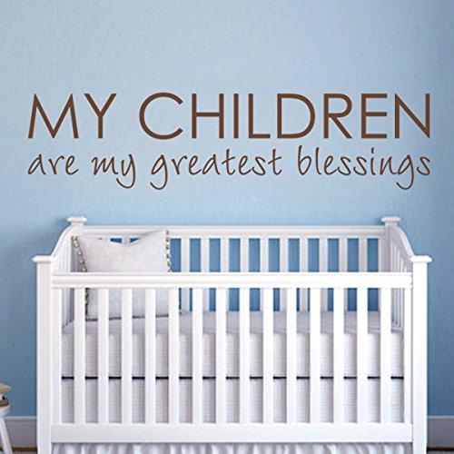 Crèche qutoes-my les enfants sont My Greatest Blessings - Famille Sticker Citation Love Baby Nursery Art Decor Home Decor enfants Chambre Tête de lit murale Custom Graphic (Petit, Blanc)