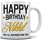 Happy Birthday Nikhil Name Printed Ceramic Coffee Mug. 350 Ml.Birthday Gift,Nikhil Name Coffee Mug