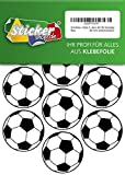 28 Aufkleber, Fußball, Sticker, 50 mm, weiß/schwarz, aus PVC, Folie, bedruckt, selbstklebend, EM, WM, Bundesliga