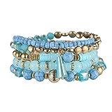 La Cabina Femme Bracelet Bijou Fantaisie Mode avec Pendentif Décoration Bracelet de Poignet Elastique Bangle en Perles de Cristal Faux Multicolore et Multi-couche