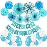 Geburtstag Dekoration, Cocodeko Happy Birthday Wimpelkette Girlande mit 4 Seidenpapier Pompoms, 6 Papier Fans Fächer und 20 Luftballons - Blau, Hellblau und Weiß