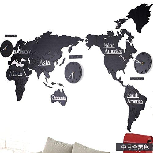 yustar Moderne Super große Weltkarte Holz Creative Wanduhr Zahlen Buchstaben DIY 3D Aufkleber Home Wohnzimmer Büro Decor, schwarz, 137*0.3*58CM (Mit Holz Buchstaben Wand-dekor Schwarzen)