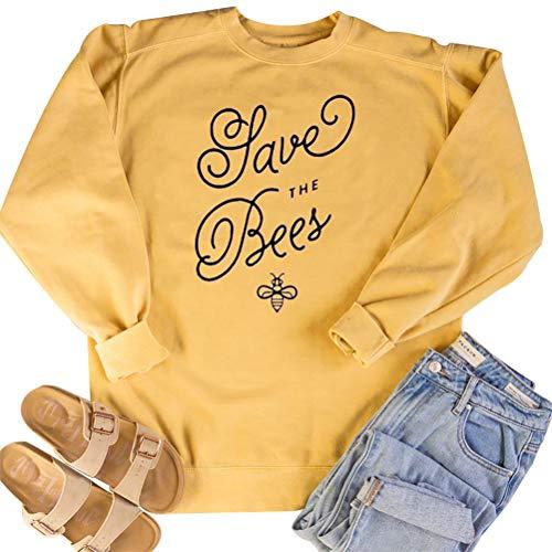 yssgtt Frauen speichern die Bienen Brief Grafik Print Langarm Hoodie Sweatshirt lässig Baumwolle Pullover Tops