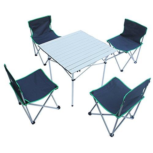 QIANGDA Camping Pliante Table avec 4 Chaises Stable Fort Alliage D'aluminium Multi-Fonction Portable - Pliable: 80 X 18 X 37cm, 3 Couleurs Optionnel (Couleur : Bleu foncé)