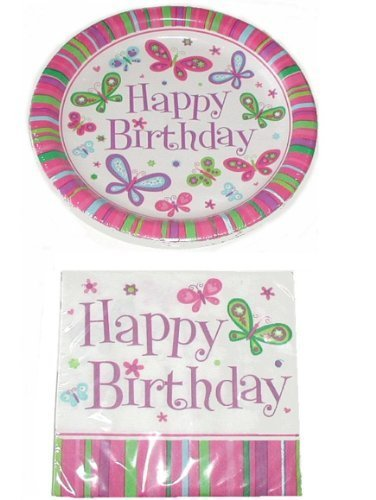 Happy Birthday Butterfly Theme Party Pack - 18 Plates & 20 Napkins St3 by Greenbrier (Happy Birthday Butterfly)