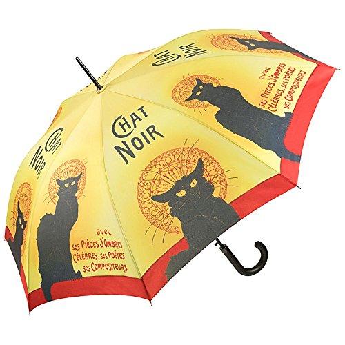 VON LILIENFELD Regenschirm Automatik Damen Herren Mode Design Kunst-Motiv Tier-Motiv schwarze Katze: Chat Noir (Le Chat Noir-malerei)
