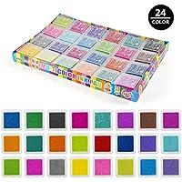 Czemo 24 Colores Almohadilla Tinta Sello Tampón para estampilla de goma DIY Scrapbooking y tarjeta de fabricación de decoración, Lavable Almohadillas de Sellos Para Niños