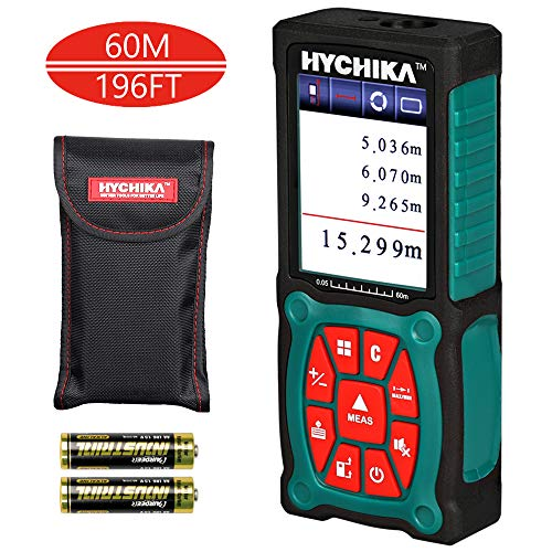 Laser Entfernungsmesser 60M, HYCHIKA Entfernungsmesser, Genauigkeit ±1.5mm, mit LCD Farbdisplay, 2 Lasermodule, unterstützt 3 Maßeinheiten: m/in/ft, inklusive 2 x AA Batterien und Tasche