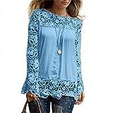 MORCHAN Chemise à Manches Longues pour Femmes Fashion Casual Blouse en Dentelle Tops en Coton lâche T-Shirt(FR-40/CN-XL,Bleu Clair)