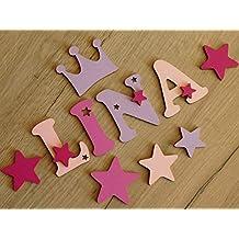 7cm Holzbuchstaben in tollen Farbkombinationen für die Kinderzimmertür. Perfektes Geburtsgeschenk oder Taufgeschenk. Inkl. Klebepads