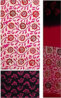Navjeet Arts Unstitched Cotton Dress Material for womens (Pink)
