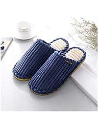 GAOHUI Slippers Los Hombres Invierno Caliente Antideslizante Zapatillas De Algodón Coser Bow Home Par De Zapatos,Blue,42-43