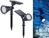 Luminea Solarspot: 2er-Set Solar-LED-Garten-Spots mit Erdspieß, 200 Lumen, 1,5 Watt, IP44 (Solar Gartenstrahler)