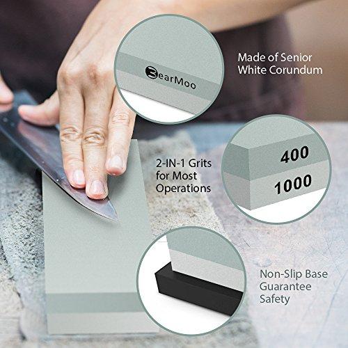 51CaV3xiOvL. SS500  - BearMoo Sharpening Stone, 2-IN-1 Whetstone, 400/1000 Grit Knife Sharpening Stone - Waterstone - Rubber Stone Holder…