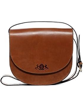 SID & VAIN® Schultertasche TRISH - Damen Umhängetasche groß Ledertasche - Handtasche formstabiles Sattelleder...