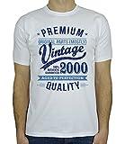My Generation Gifts 2000 Vintage Year - Aged to Perfection - 18. Geburtstag Geschenk T-Shirt für Herren Weiß Blau L