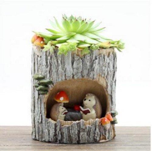 mini-landcape-plant-container-succulent-planter-resin-home-office-decor-flowerpot-hedgehog