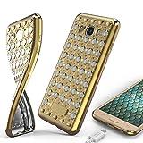 URCOVER Coque Souple Oriental Glittery Diamant pour Samsung Galaxy J1 2016 | Back Cover en Silicone TPU Douce Dorée et Blanc | Housse Étui Decorée avec Strass Scintillantes et Pailletté