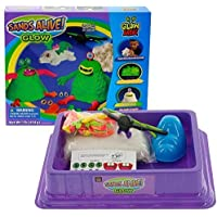 Play Sand Deluxe Monster Set - 1lb Glow In The Dark Sand with UV Light Pen, Glasses, Molds, and Playmat by Play Visions