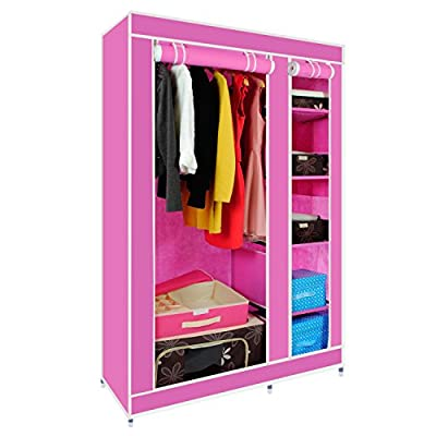 Double Canvas Wardrobe with Clothes Rail Shelves Bedroom Storage Furniture - inexpensive UK wordrobe store.