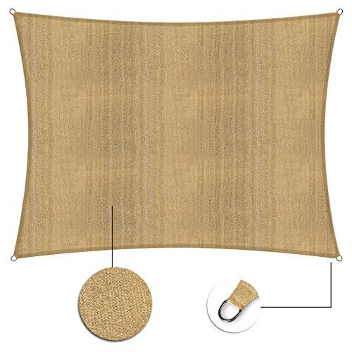 Galleria fotografica Lumaland tenda da sole 3 x 4, con incluse corde di nylon per il montaggio, 100% HDPE con filtro di protezione UV, color sabbia