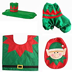 Christmas Decoration Toilet Seat Cover Set By Sunshine D Xmas Toilet Cushion Seat Non Slip Seat Lid Cover Tissue Box Cover Bathroom Sets Accessories (Elf)