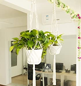 Macrame Plant Hanger, Pack of 2, Indoor Outdoor, Plant Holder, Hanging Planter Wall Art, Cotton Rope 4 Legs 41 inch(105cm) Garden Home Decoration by HomeMall