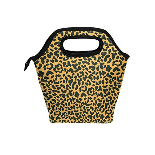 Leopard Animal Print Tote (SKYDA Insulated Lunchpaket Animal Leopard Print Lunch Tote Reusable Cooler Bag Organizer Portable Reusable Lunch Tote)