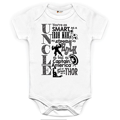 Marvel Comics Uncle Baby Grow Babybody Einteiler Iron Man Hulk Captain America Thor 12-18 Monate