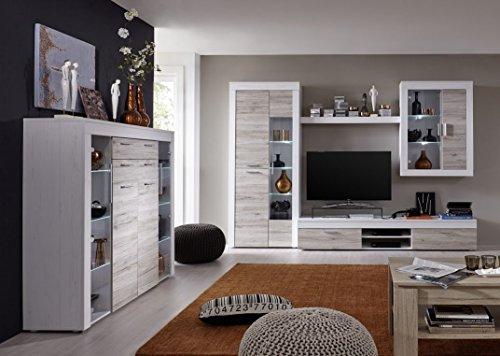 Dreams4Home Wohnkombination 'Wien A', (B/H/T) ca. 305 x 209 x 50 cm, Wohnwand, Anbauwand, Schrankwand, Wohnzimmerschrank, Wohnzimmer, in Pinie weiß / Eiche SanRemo, Ausführung:ohne Glas-TV-Bühne - 2