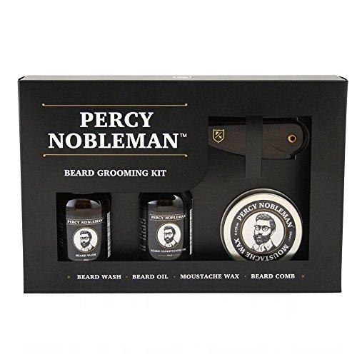 Kit de cuidado para la barba de Percy Nobleman. Un kit de regalo para caballeros compuesto por aceite para barba,...