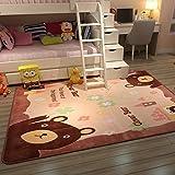 GRENSS Dicke Cartoon Teppichboden Sofa im Wohnzimmer Schlafzimmer mit Etagenbetten und die Prinzessin Zimmer Cute Baby Kinder Kriechen und, 100 * 150 cm, Cartoon Bear