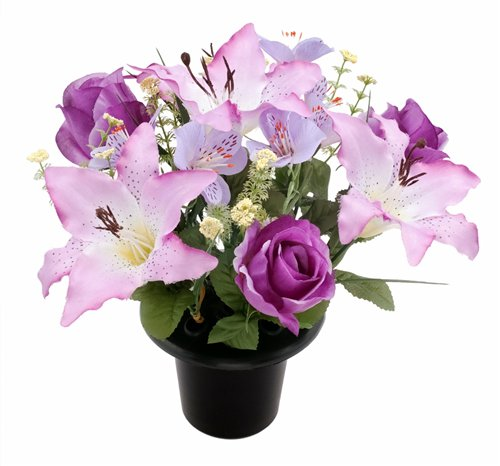 Rosen Lilien & Alstromeria Grabschmuck Blumenarrangement, Kunstseide/ Memorial zum in Vase einfügen Violett / fliederfarben