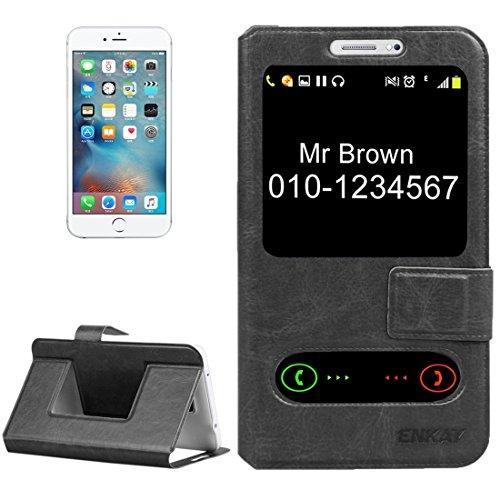 iPhone Case Cover ENKAY Housse en cuir à fermeture à glissière horizontale avec identification de l'appel et support pour iPhone 5 & 5s & SE / Samsung Galaxy S II / Huawei Y500 & Y516 ( Color : Blue ) Black