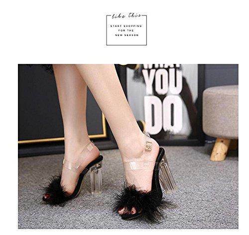 GLTER Donne Pumps Open Toe Temperamento peluche di cristallo Tacchi alti sandali slingback Pumps Nero Beige Rosa Black