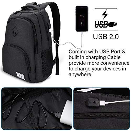 YAMTION Laptop Rucksack Schule Rucksack für 15.6 Zoll Laptop Schulrucksack mit USB-Ladeanschluss für Arbeit Wandern Reisen Camping,für Herren und Damen,Oxford,20-35L (b6-Schwarz)