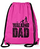 Stylotex Turnbeutel The Walking dad Hipster Beutel Gym Bag Tasche Stringbag Beuteltasche, Farbe:pink