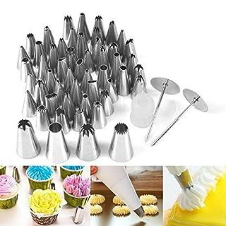 BORUIT 52 PCS/Set Rostfreier Stahl Icing Piping Spritztüllen Set Gehäuse Werkzeuge Backen Kuchen Dekorationen Küche Accessoires perfekt für Kuchen, Kekse, Gebäck und Schokolade etc