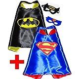 Batman + Superman (Set 2 Stück) Umhänge und Maske - Superhelden-Kostüme für Kinder Cape und Maske - Spielsachen für Jungen für Fasching oder Motto-Partys! - King Mungo - KMSC031