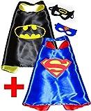Batman + Superman (lot de 2) capes et masques pour enfants Super Héros - Garçon super-héros Costume de fête enfants Fancy Dress Up capes pour 2 au 11 ans - Satiné double couche - King mungo - KMSC031
